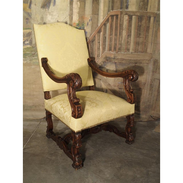Circa 1890 Antique French Walnut Wood Armchair For Sale - Image 11 of 11