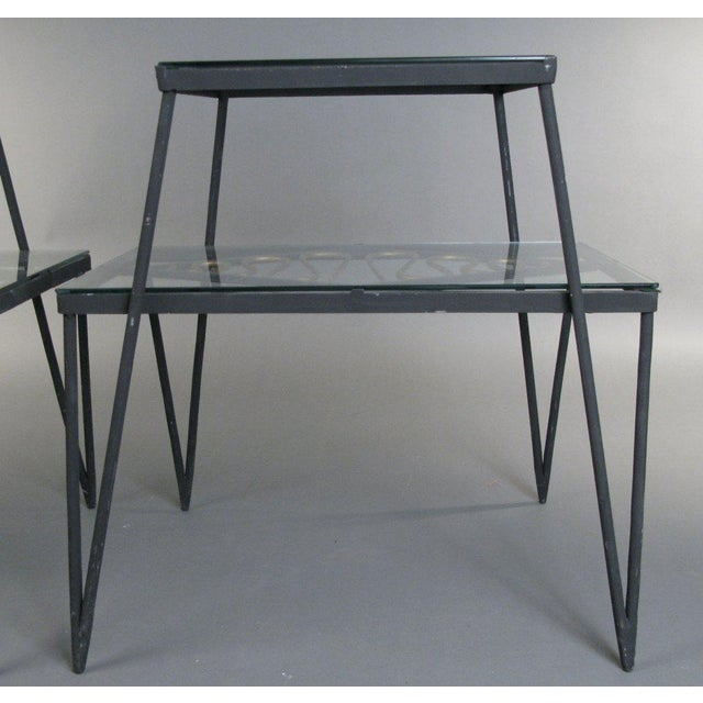 1960s Vintage Pair of Iron and Gilt Ribbon Tables For Sale - Image 5 of 8