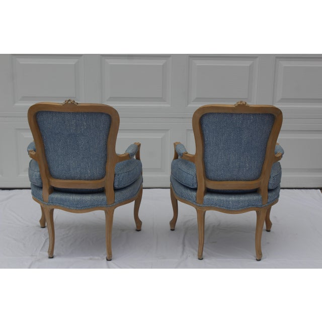 Vintage French Louis XVI Style Vintage Upholstered Arm Chairs- a Pair For Sale - Image 4 of 10