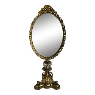 Vintage Gilt and Brass Vanity Mirror For Sale