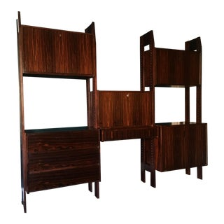 1960s Danish Modern Rosewood Wall Unit For Sale