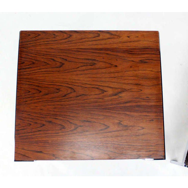 Chrome Pair of Baughman Rosewood & Chrome Mid-Century Modern End Tables For Sale - Image 7 of 8