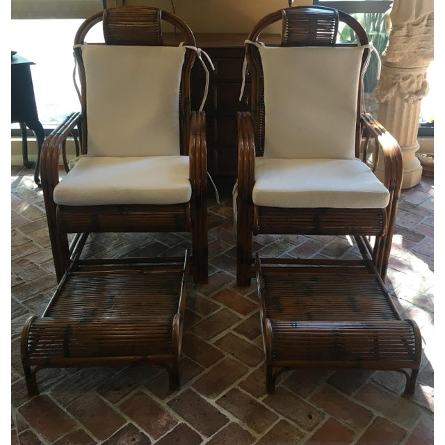 1920s Vintage French Indochina Bamboo Lounge Chairs- A Pair For Sale - Image 12 of 12