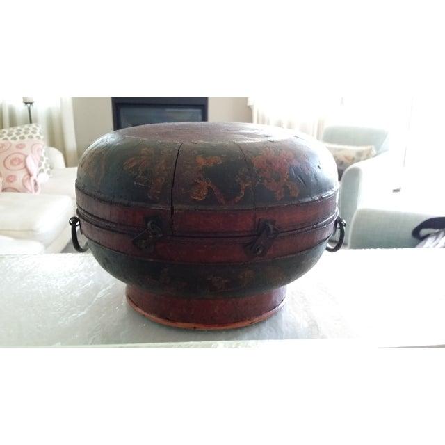 Tibetan Round Wood Box - Image 8 of 10
