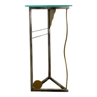 Memphis Style Handmade Steel & Glass Side Table For Sale