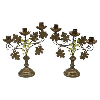 1920s French Bronze Candleholders - a Pair For Sale
