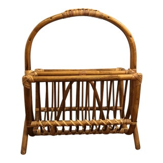 20th Century Boho Chic Bentwood Bamboo Magazine Rack For Sale
