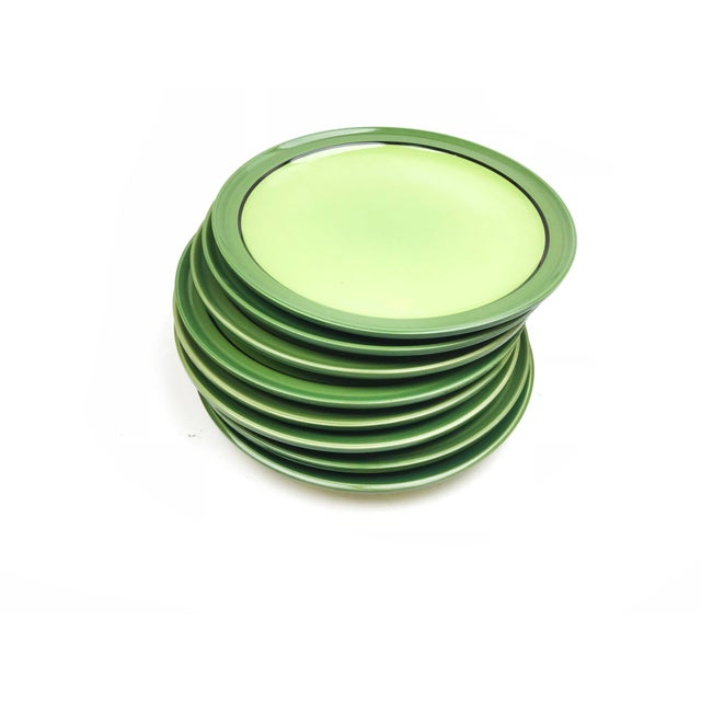 Vintage mid century set of 8 Stone Ware plates, made in Japan. This ultra 60s set of plates has light green centers and...