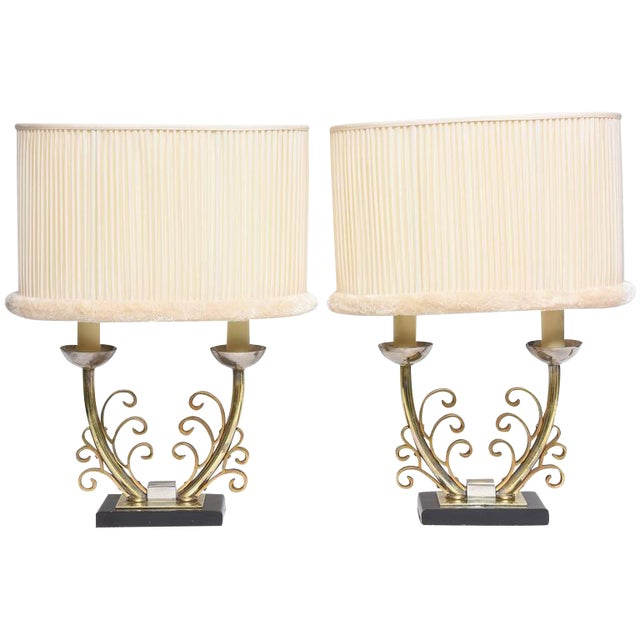 Pair of Art Deco Table Lamps in Brass and Silver with Shades, France, 1920s For Sale