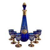 Image of Mid-Century 24k-Gold Cobalt Venetian Decanter With Stems - Set of 7 For Sale