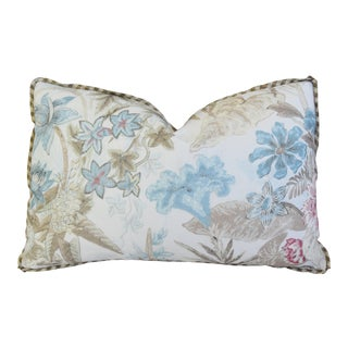 "Cowtan & Tout Floral Linen Feather/Down Pillow 22"" X 14"" For Sale"