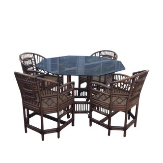 Vintage Chinese Chippendale Rattan Bamboo Dining Table and Chairs -Set of 5 For Sale