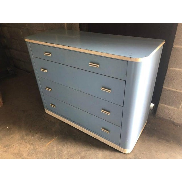 Dresser Lowboy by Norman Bel Geddes for Simmons Circa 1930s, Baby Blue and White For Sale - Image 11 of 12