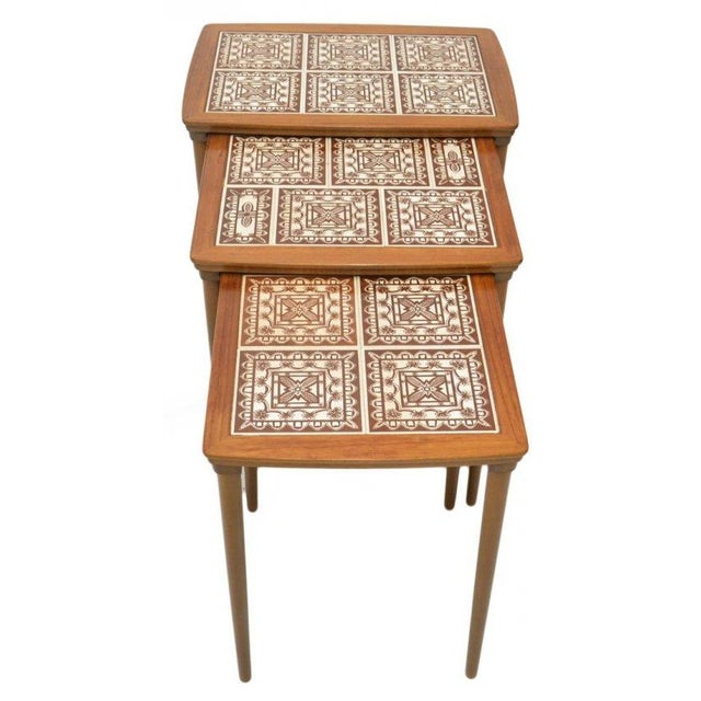 Danish Tile Top Nesting Tables - Set of 3 - Image 1 of 4