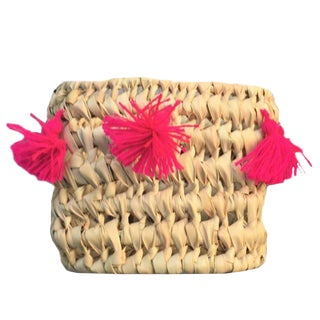 Moroccan Fuchsia Tassel Basket For Sale