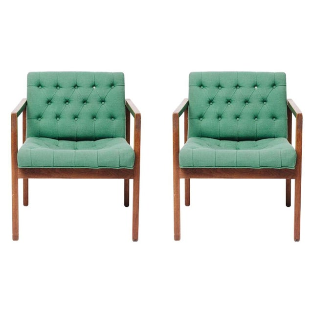 Vintage Green Wool Danish Arm Chairs Pair For Sale