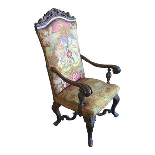 16th Century Antique Louis XIII Mahogany Chair For Sale