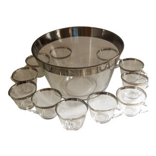 Dorothy Thorpe Silver Band Mid-Century Punch Bowl Set - Set of 12 For Sale