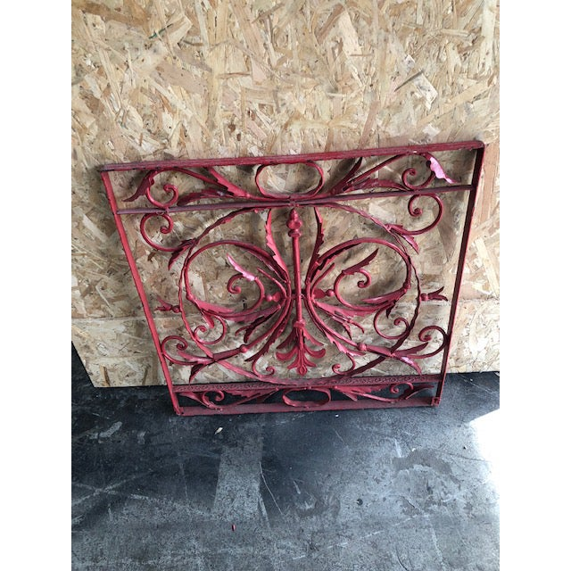 19th Century 19th Century Vintage French Wrought Iron Grille For Sale - Image 5 of 8