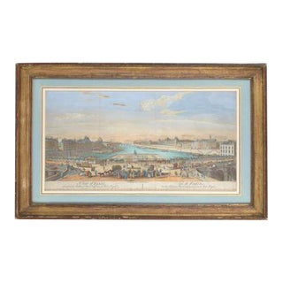View of Paris Framed Hand Colored Engraving For Sale