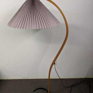 1970s Danish Bentwood Caprani Floor Lamp With Pleated Shade Preview