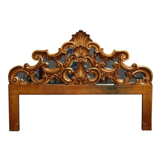 Vintage French Provincial Louis XVI Rococo Gold King Headboard Mirror & Scrolls For Sale