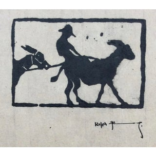 Arts & Crafts Woodblock Print 1930s For Sale