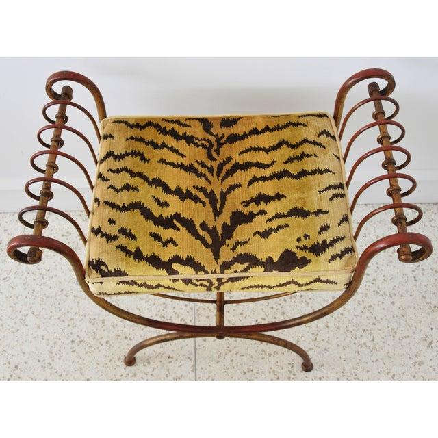 Scalamandre Velvet Tiger Hollywood Glam Italian Gilt Vanity Bench For Sale - Image 10 of 13