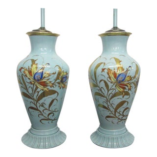 Pair of Decorative Hand-Painted Ceramic Urn Lamps For Sale