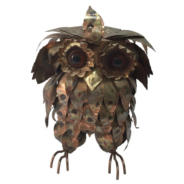 Large Brutalist Torch Cut Owl For Sale