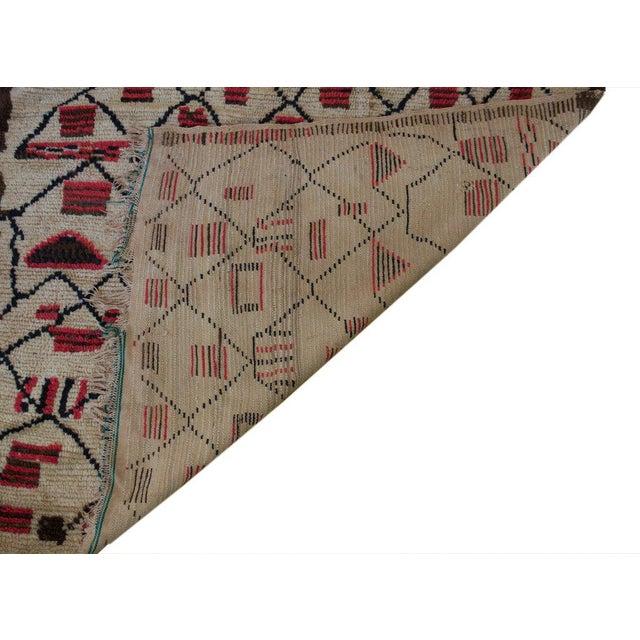"Vintage Beni Ouarain Azilal Moroccan Carpet - 6'3"" X 4'9"" - Image 3 of 3"