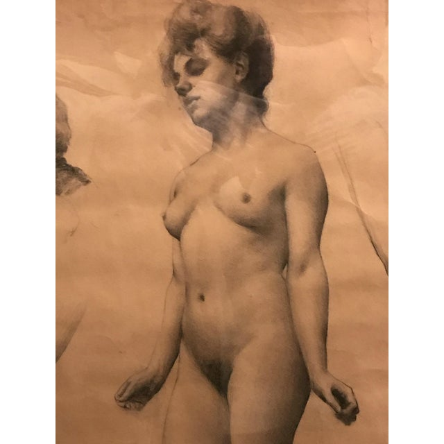 Figurative Classical French Female Nude Study Drawing, Late 19th Century For Sale - Image 3 of 7