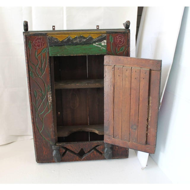 Brown 19th Century Hand-Carved and Painted Folk Art Hanging Wall Cabinet For Sale - Image 8 of 10