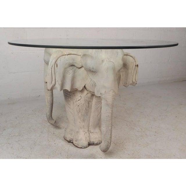 Vintage Modern Primitive Carved Wood Elephant Coffee Table Chairish