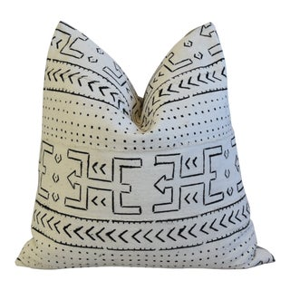 "Malian Mud Cloth & Linen Tribal Feather/Down Pillow 22"" Square For Sale"