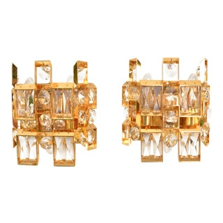 Vintage 1960s Gold-Plated Crystal Wall Lamps by Palwa, Germany - a Pair For Sale