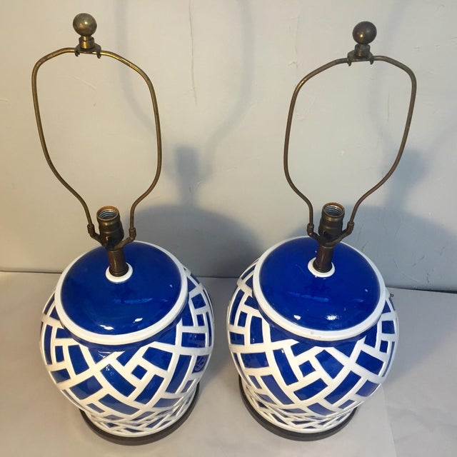 Frederick Cooper Blue & White Ginger Jar Lamps - A Pair For Sale - Image 6 of 8