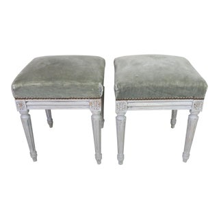 Early 20th Century Louis XVI Style Foot Stools - a Pair For Sale