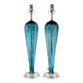 Vintage Italian Glass Teardrop Table Lamps Teal Blue For Sale