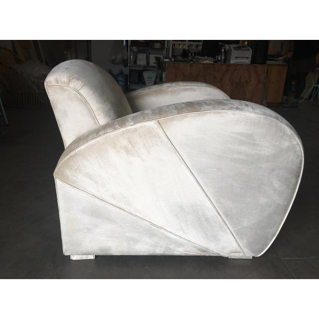 White Art Deco Pearl White Mohair Jazz Club Chair W/ Speed Arms For Sale - Image 8 of 11