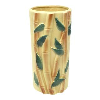 Vintage Yellow Ceramic Bamboo Cylinder Vase For Sale