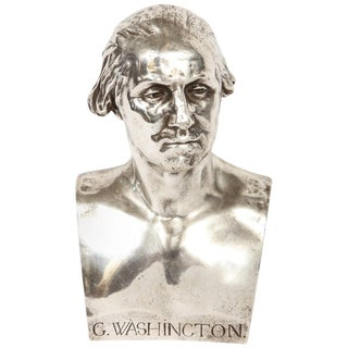 Extremley Rare Silvered Metal Bust of George Washington by F. Barbedienne For Sale