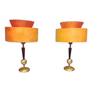 Mid-Century Table Brass & Teak With New 2 Tier Orange Shades - A Pair For Sale