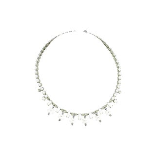 Weiss Milk Glass & Crystal Necklace, 1950s For Sale