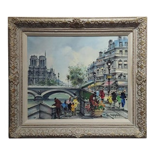Maurice Legendre -Parisian Scene Near Notre Dame -Oil Painting -1960s For Sale