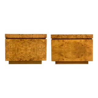 Vintage Burled Olive Wood Nightstands by Roland Carter for Lane— a Pair For Sale