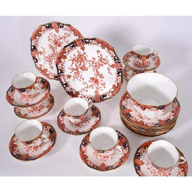 Antique English Royal Crown Derby Porcelain Luncheon Set - 27 Piece Set For Sale - Image 10 of 13