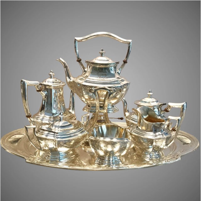 Metal R. Wallace and Sons of Wallingford Circa 1940 American Sterling Tea Service - Set of 7 For Sale - Image 7 of 7