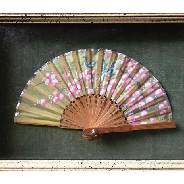 Sweet small hand painted silk and bamboo Chinese fan. Cherry blossoms and blue birds. All original. Good condition - glass...