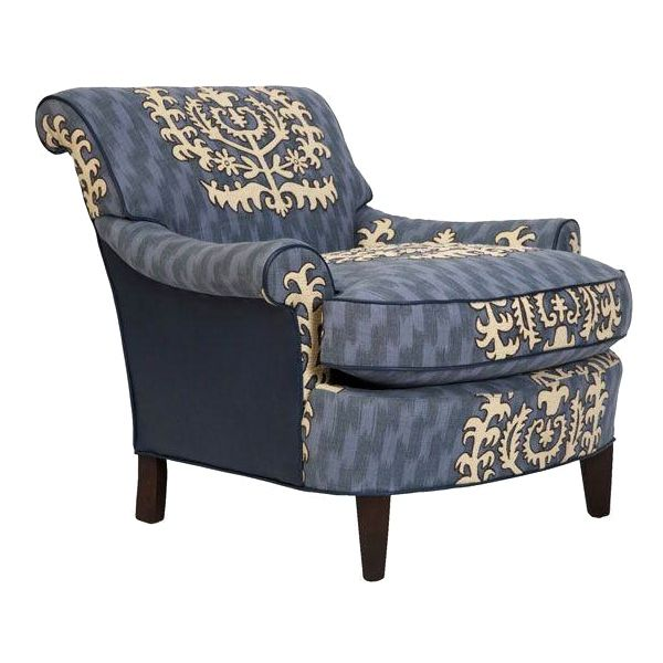 Travers Blue Leather Club Chair - Image 1 of 2